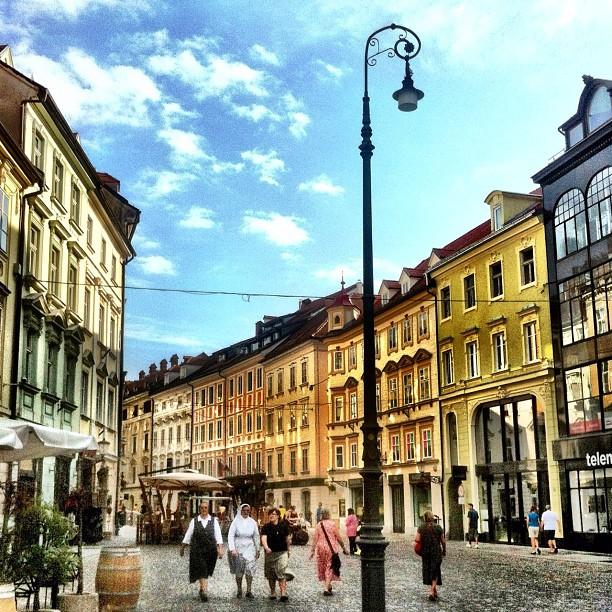 Nuns of Ljubljana walking the cobbled streets of Ljubljana's old town