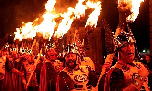 Up Helly Aa Vikings leading the Torchlight Procession