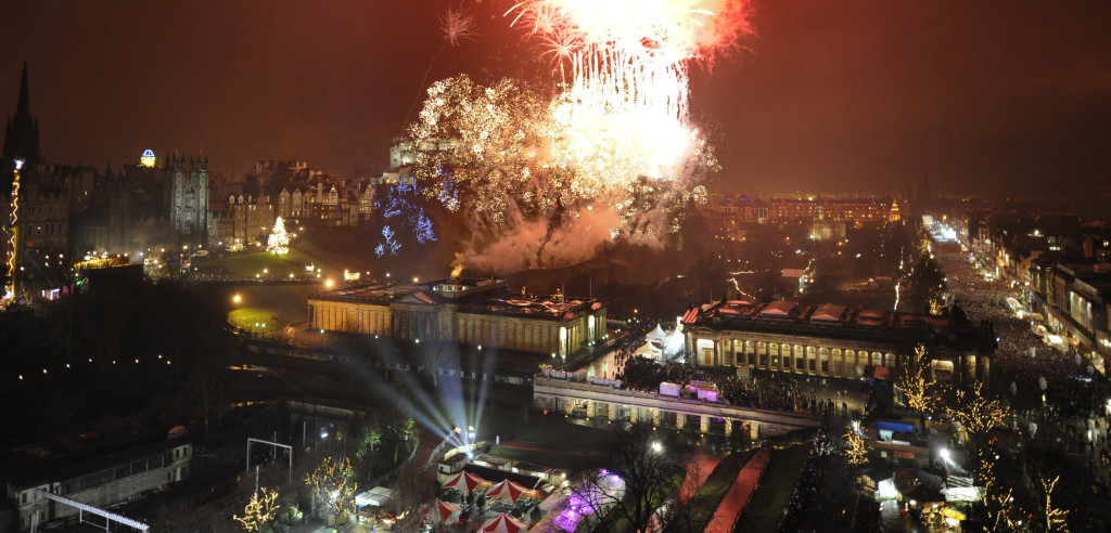 Edinburgh's Hogmanay - Midnight Fireworks Cityscape