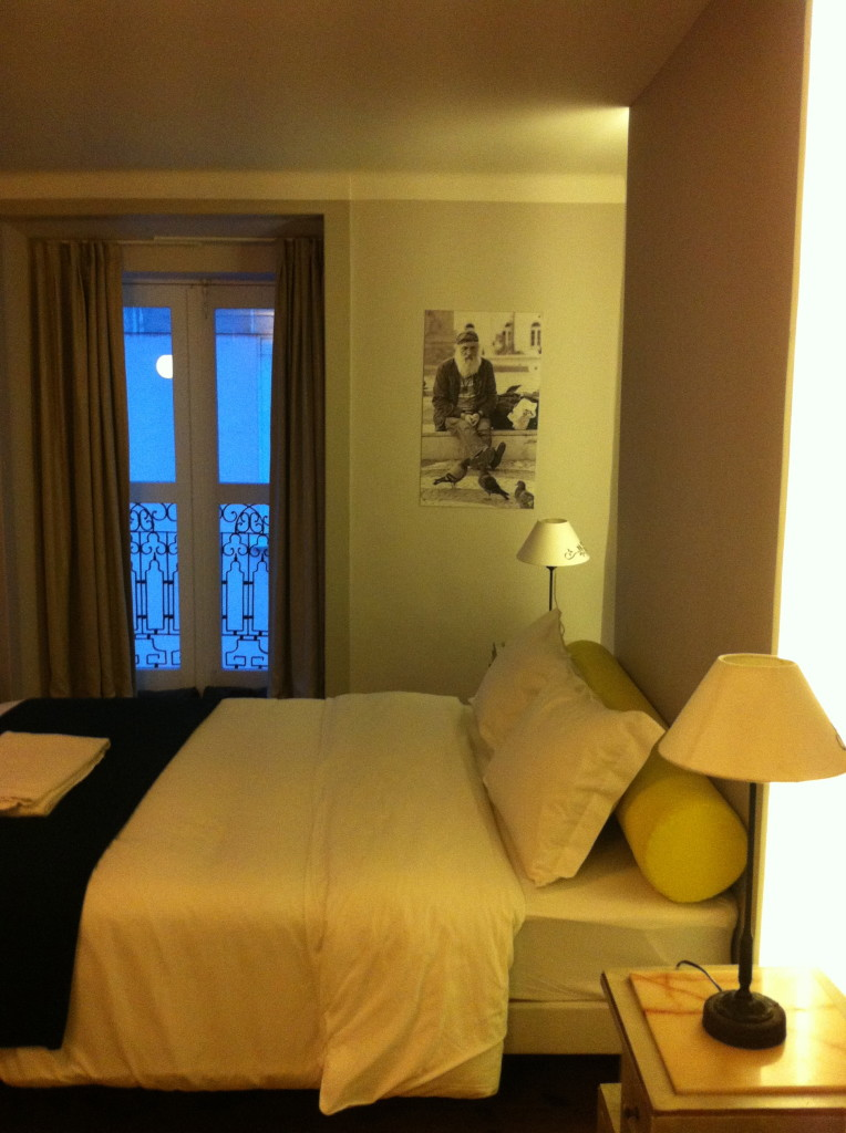 Ensuite double room at Goodmorning Hostel, Lisbon. Starting at just 60 euros a night, it's a steal