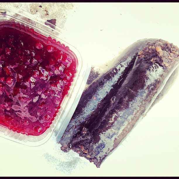 Mustamakkara with Lingonberry Sauce: Tastes better than it looks.....trust me