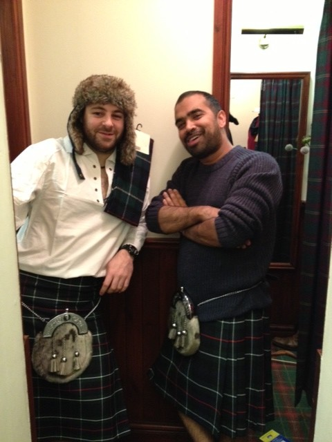 Peter and me looking the part hopefully in our new kilts!
