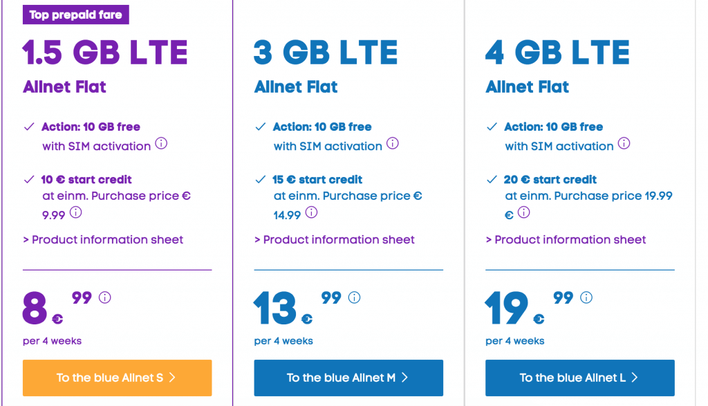 Blau De Are Also Very Compeive And Offer The Following Flat Internet Data Packages