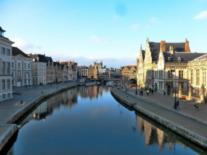 Kicking back at the end of the day by the canals in Gent