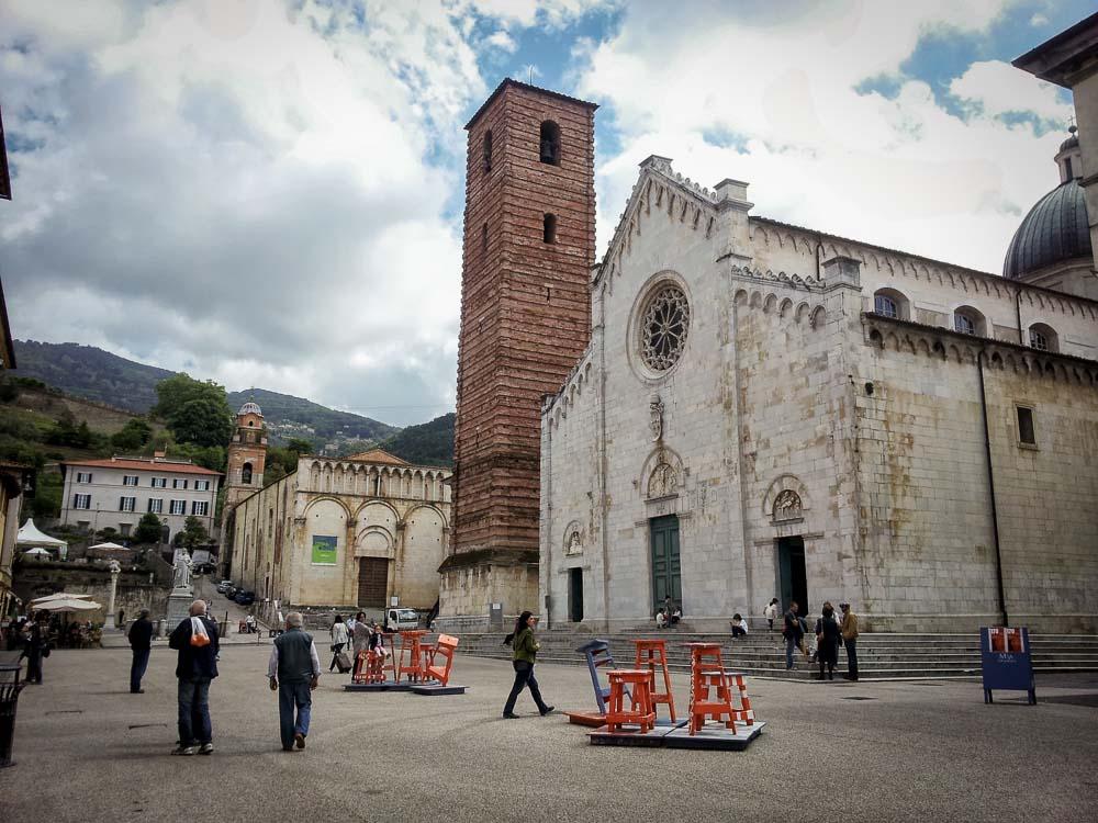 Centre of Pietrasanta with an art installation, Tuscany