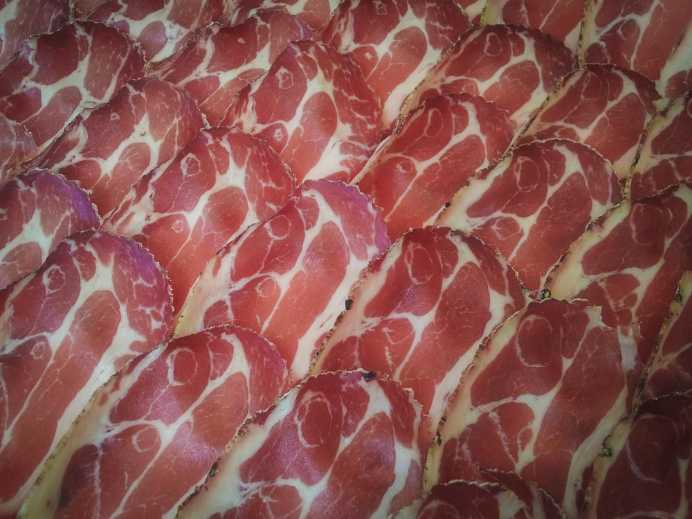 Capicola cold cuts from the neck of the pig