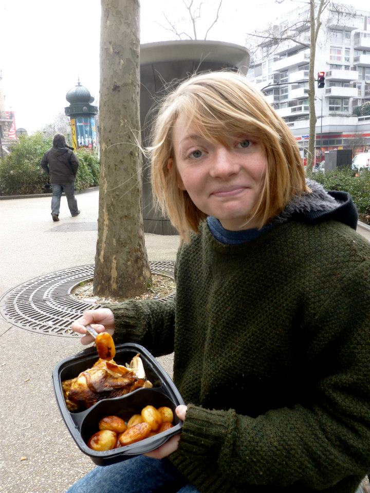 Nothing romantic about eating chicken on the street...