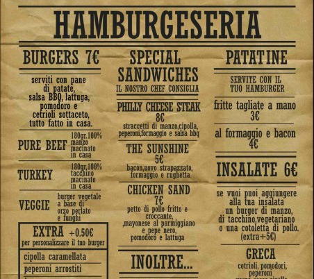 Menu at Hamburgerseria