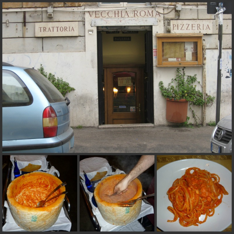 The specialty at Trattoria Vecchia Roma: Bucatini all'amatriciana