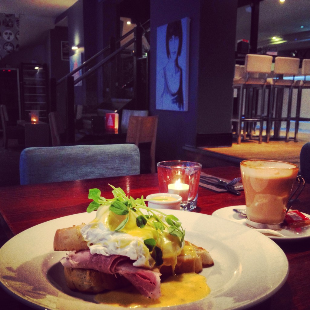Breakfast of kings-Eggs Benedict at Kennedy's. Guests get 20% discount on all food and drink at Kennedy's.