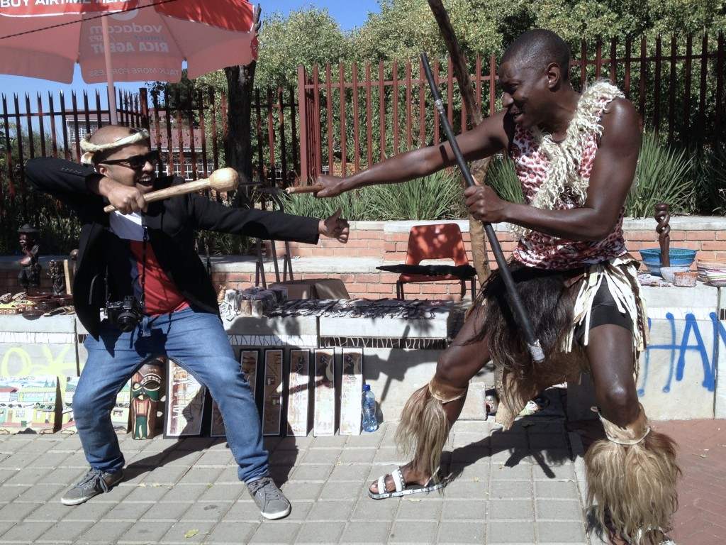 Ngiawabonga! Charles Zulu -one of Soweto's friendly ambassadors showing me his Zulu combat pose