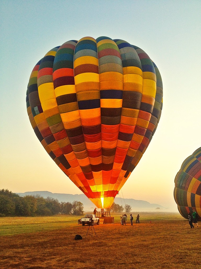 Hot-air balloon being fired up