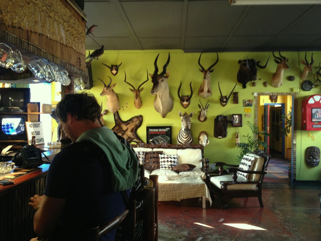 Need a break from the artsy scene of Maboneng? Pop into the macabre and eerie Trophy Room at Zebra Inn -( 252 Market Street) where you can expect animal heads, red faced drinkers and cheap beers...