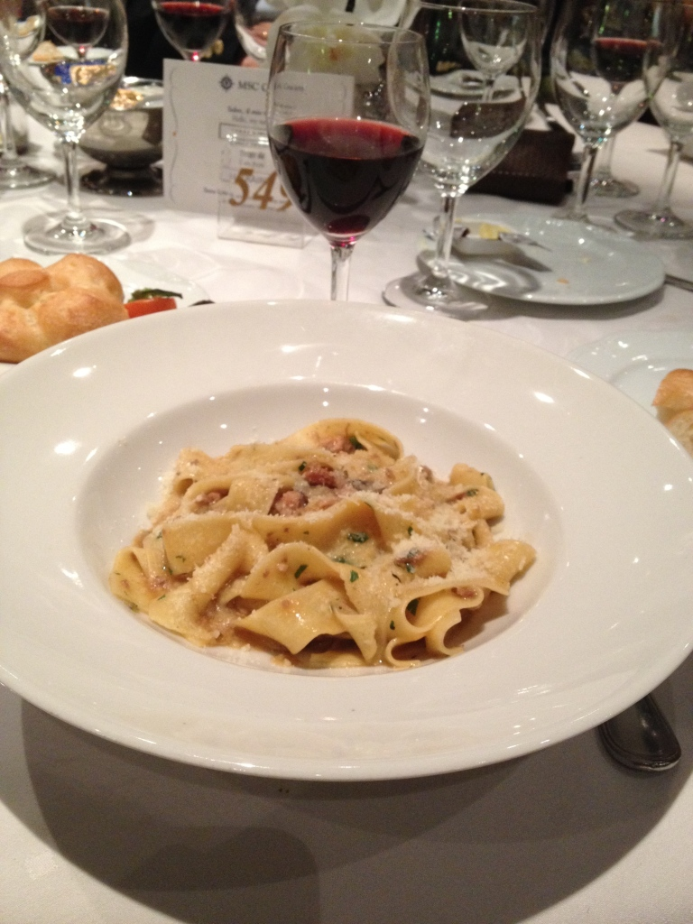 Fantastic food at the Italian restaurant onboard: Pappardelle with mushrooms