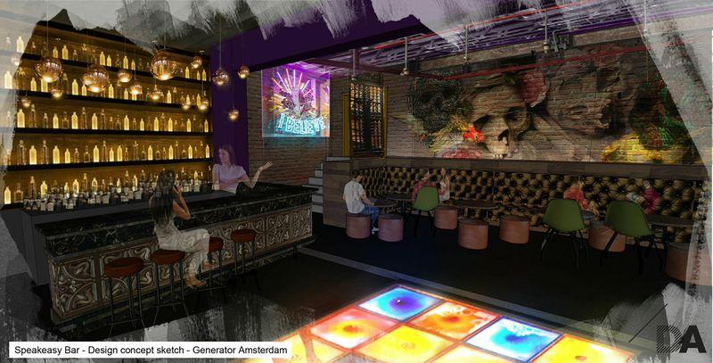 Artists impression of the bar area, Generator Amsterdam