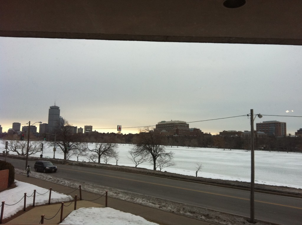 The Charles River frozen in Winter