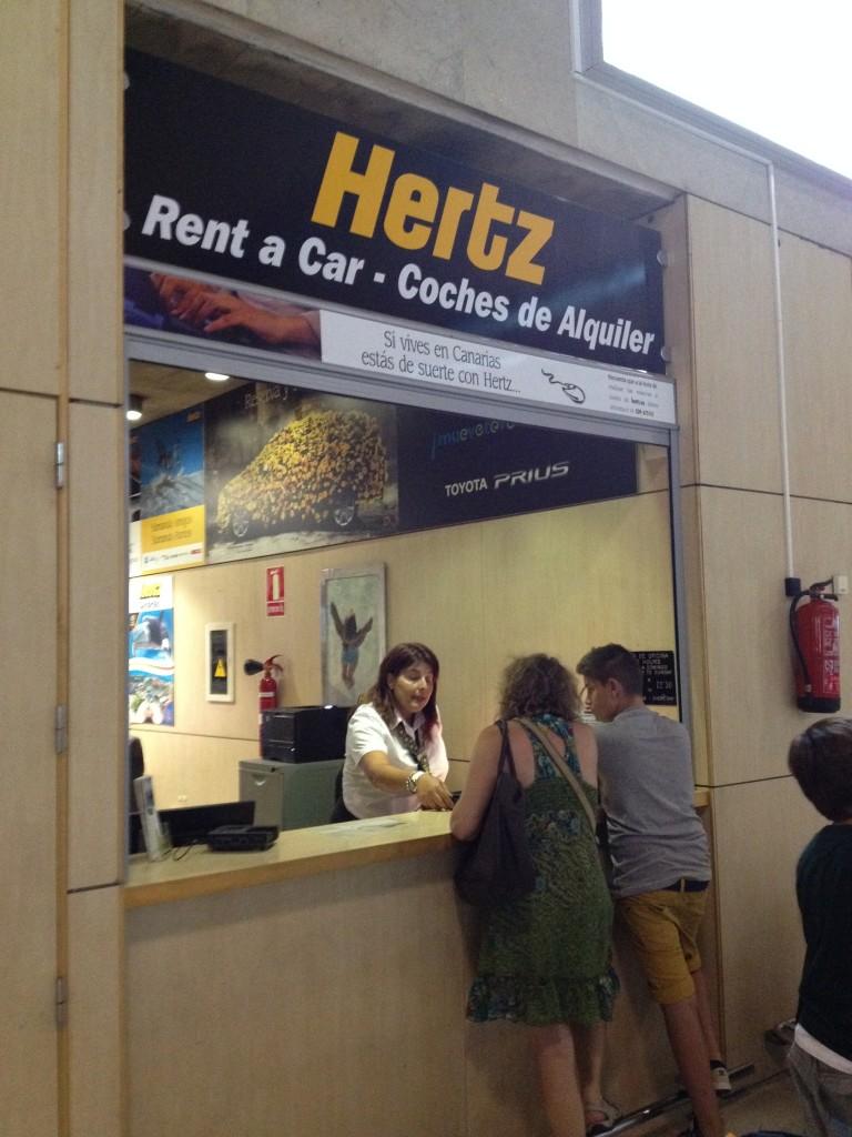 Hertz desk at the airport