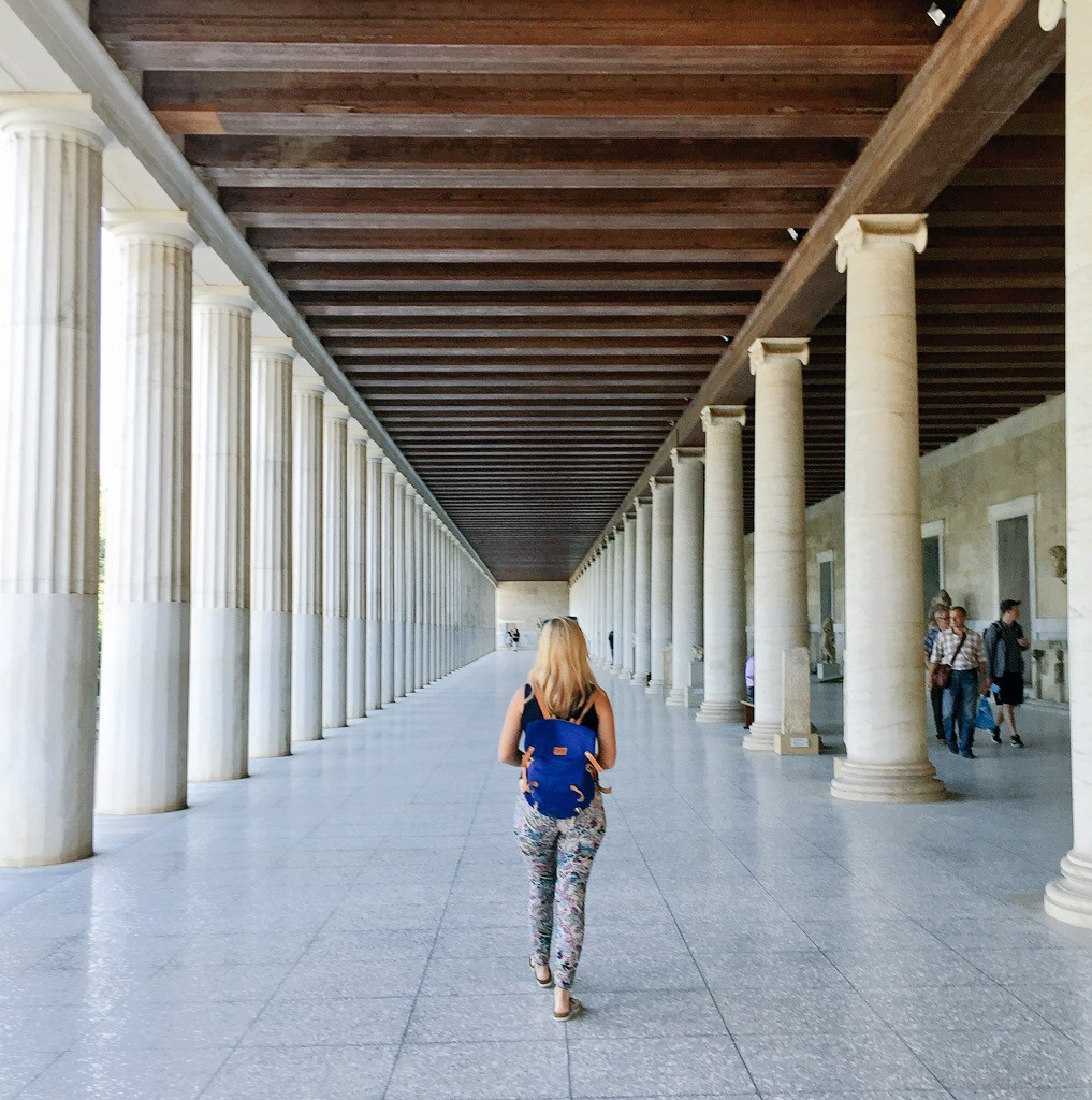The restored, epic two storeyed Stoa of Attalos which was probably the world's first ever shopping arcade