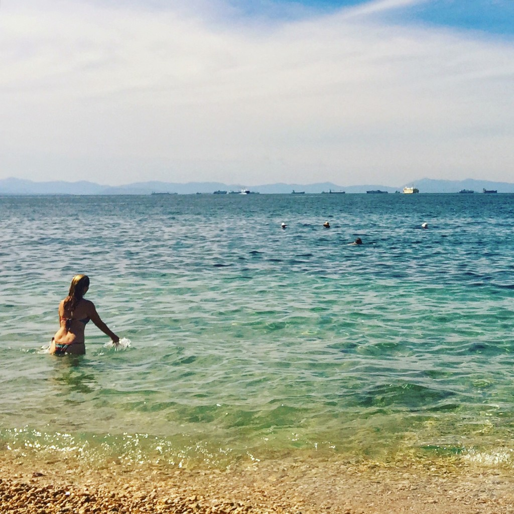 Next day we headed to the Athenian Riveira. Just a 45 minute ride by tram brings you to the sea. We went to Piraiki and swam in these beautiful warm clear blue waters. Heaven.