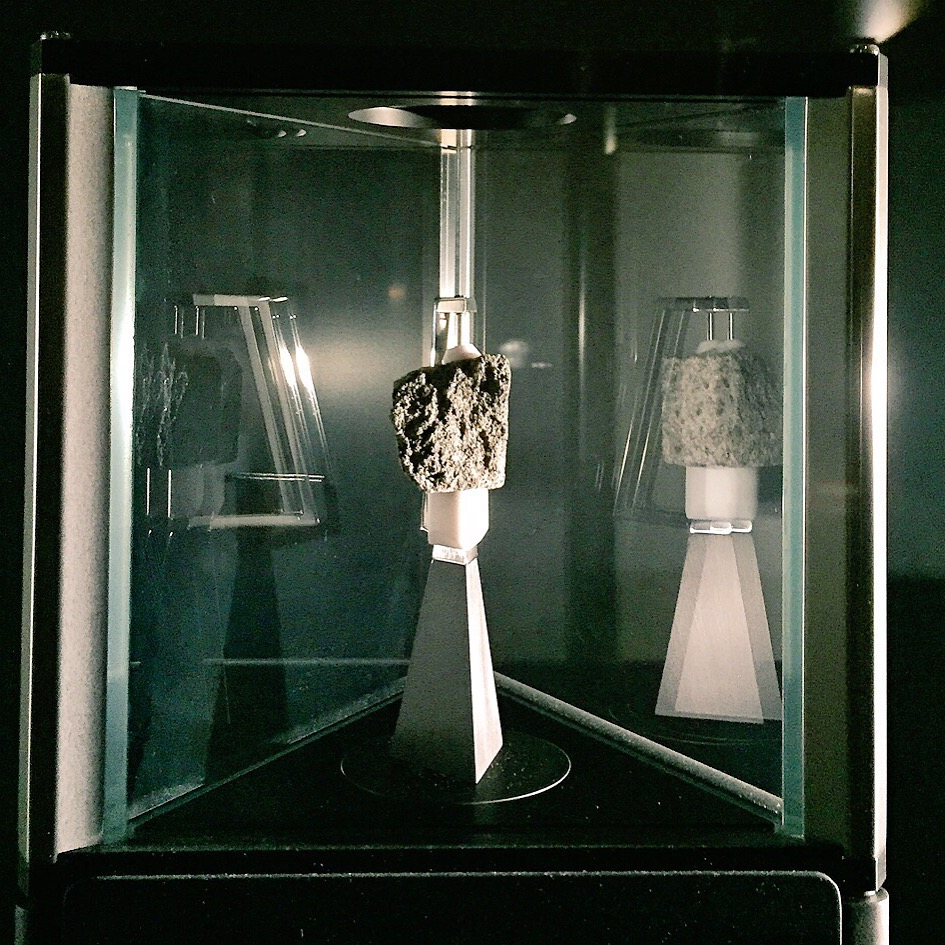 Out of this world. Moon rock in 'Exploring Space' section of the Science Museum. This piece of Moon rock was cut from the 'Great Scott' rock that Apollo 15 astronaut David Scott picked from the Moon's surface in August 1971.