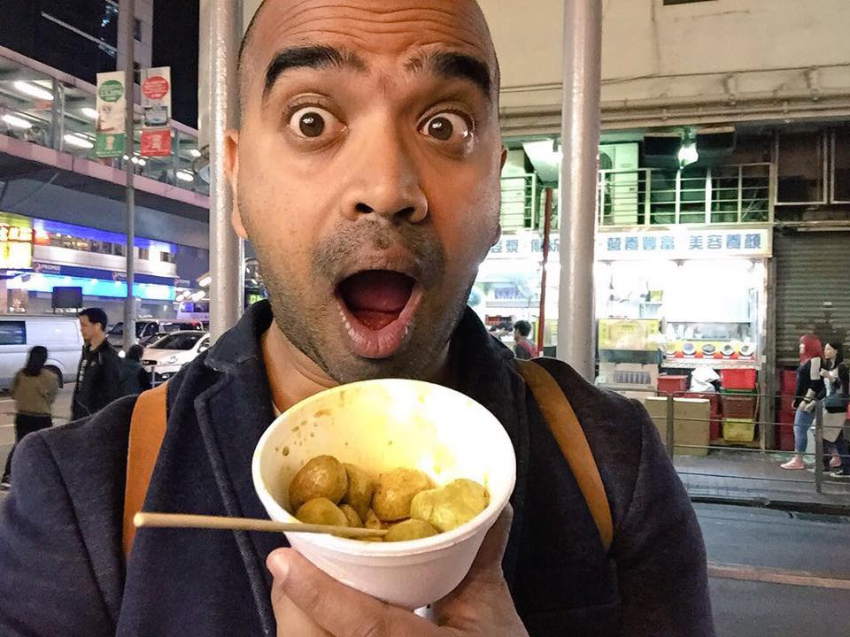 My first streetfood snack in Hong Kong: curried fish balls. $5 HKD. So good
