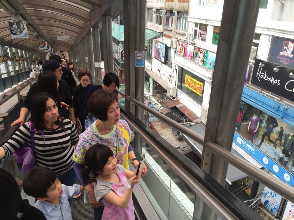 Riding the central-mid levels escalator and walkway system in Hong Kong. 800 metres long, definitely one of the coolest ways to commute in the world and great way to observe the daily rhythms of Hong Kong life.