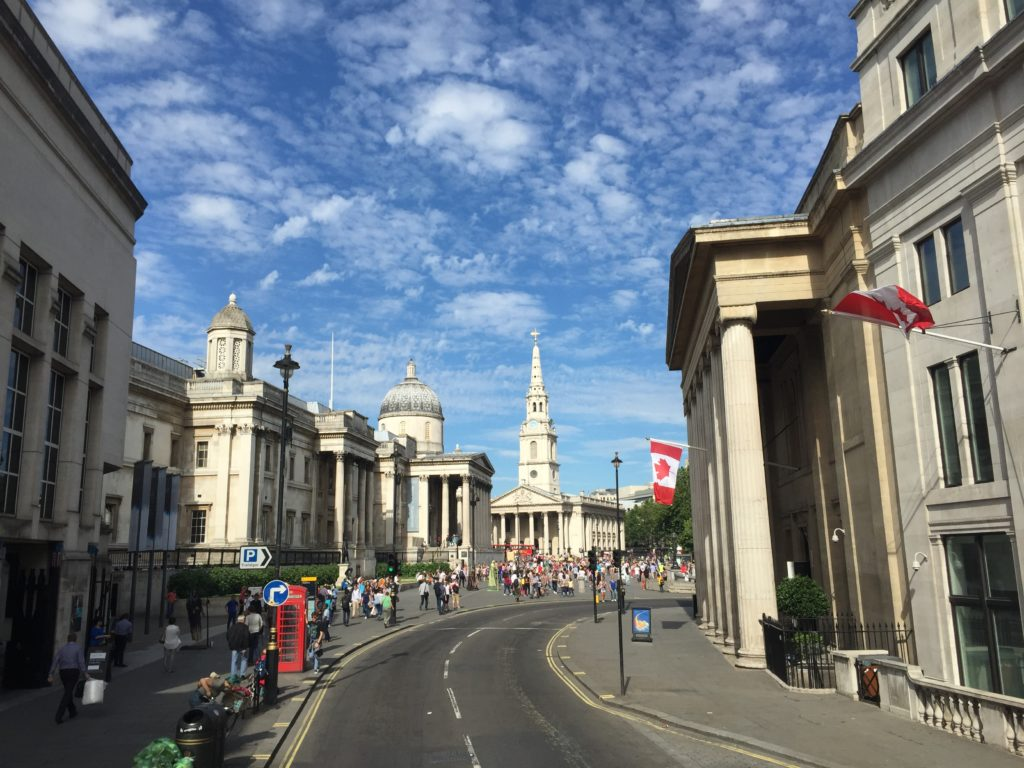All roads lead to St Martin in the Fields. National Gallery is to the left.