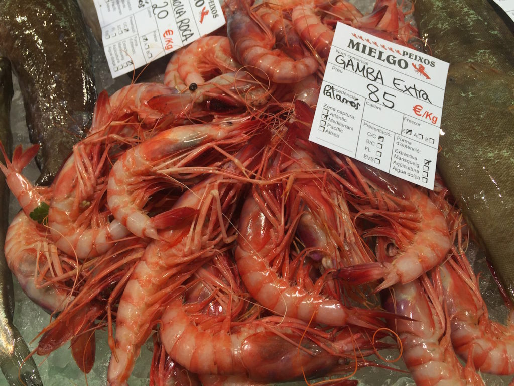 The famous intense red prawns of Palamos