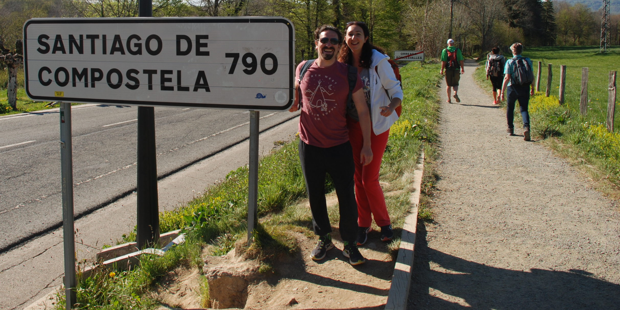 Road sign showing 790 kilometres till we arrive in Santiago de Compostela