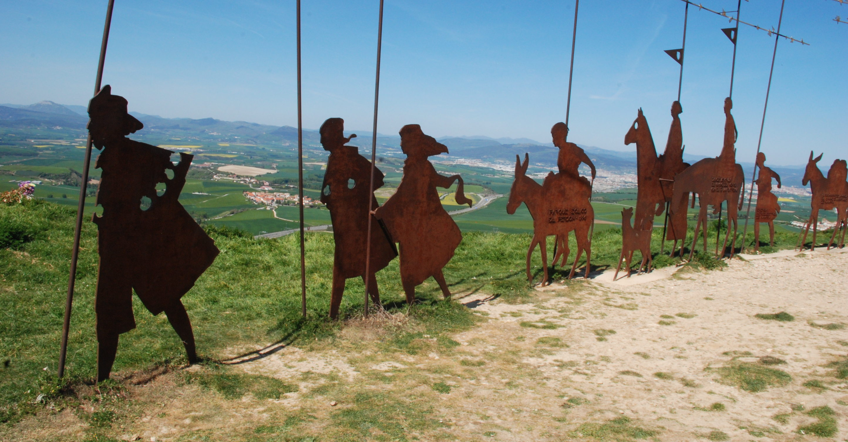 Pilgrim statue on Alto del Perdón, Navarra, Spain.