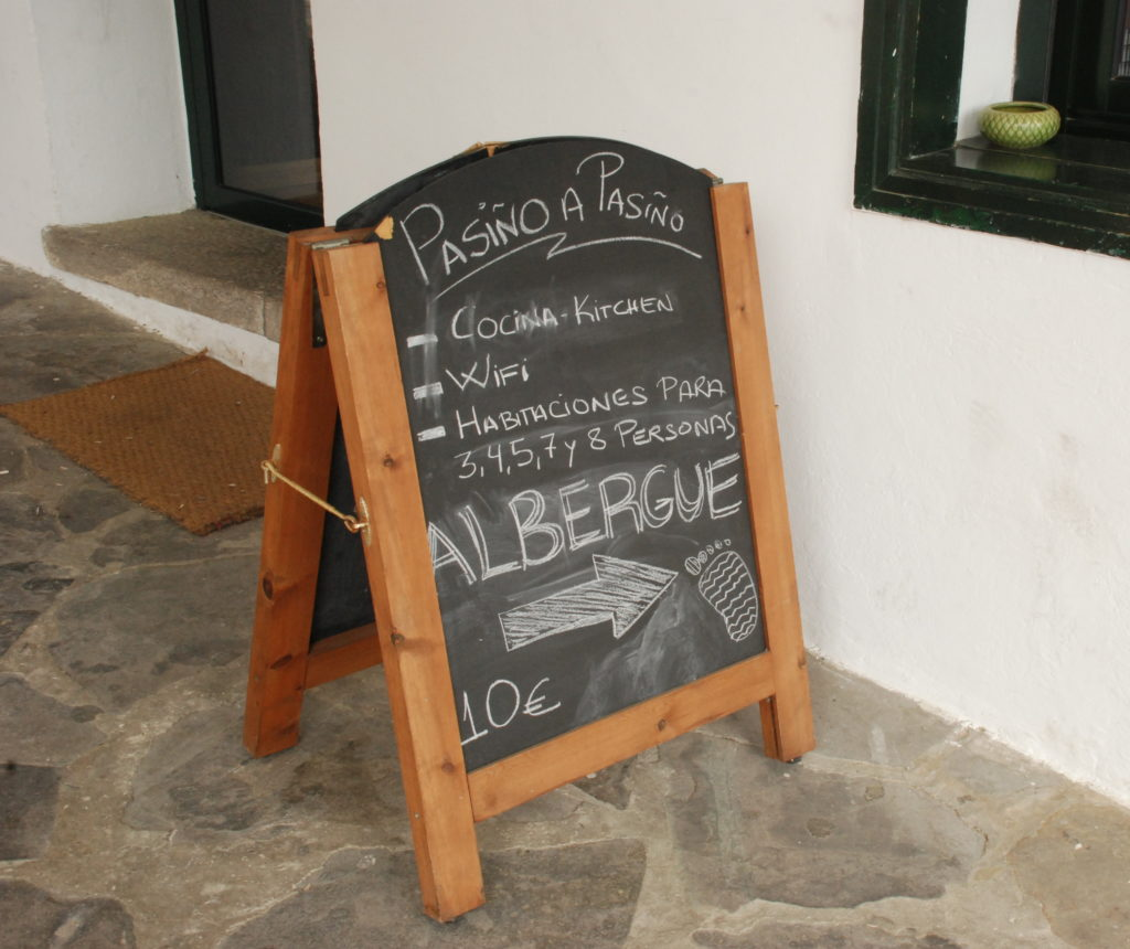 Chalkboard of albergue facilities