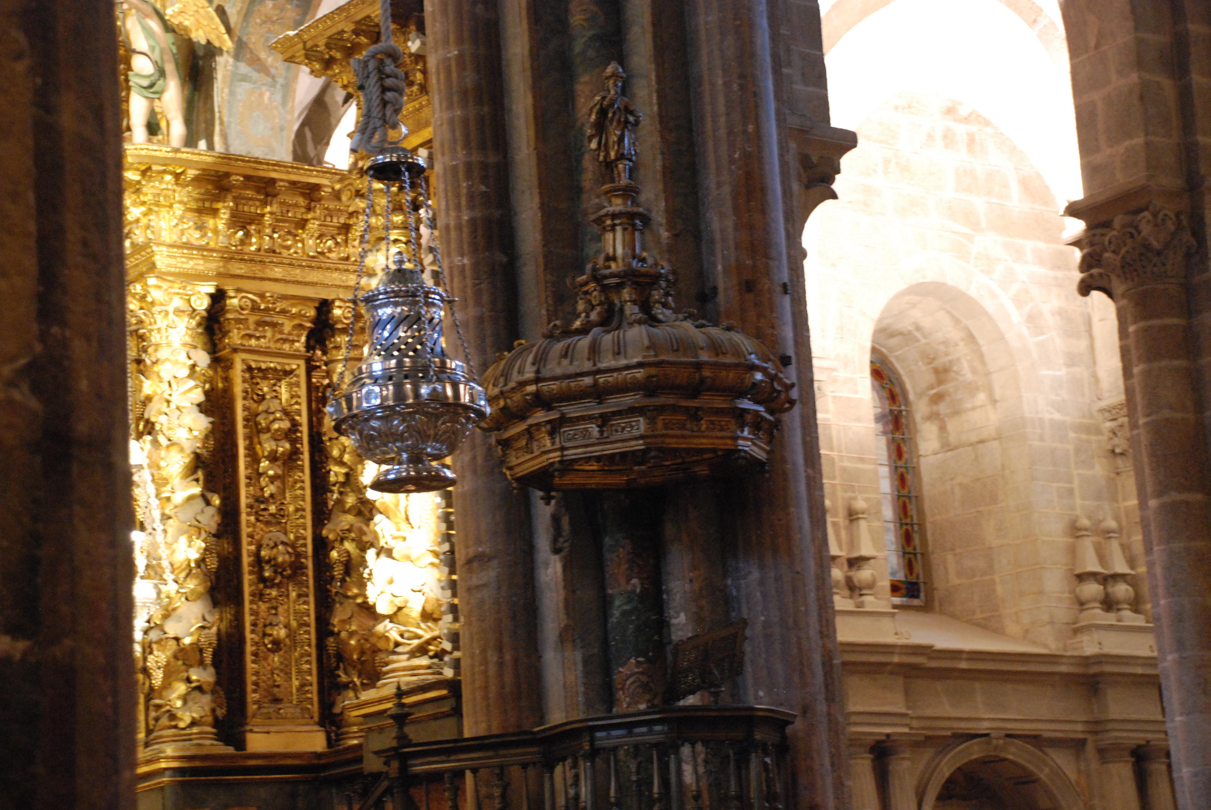 Botafumeiro at the pilgrim's mass, Santiago Cathedral