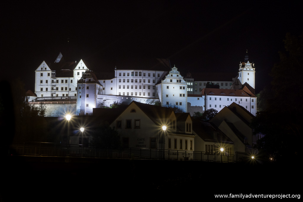 Colditz Castle at night, as seen from the town