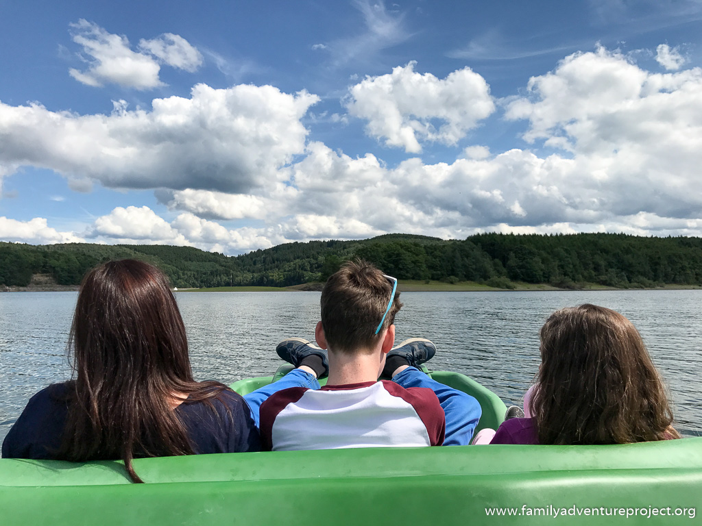 Relaxing on a pedalo on the Biggesee at Sondern, Sauerland, Germany