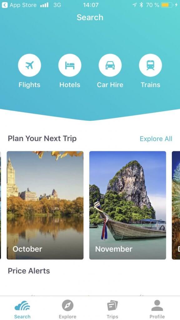 Skyscanner trains app