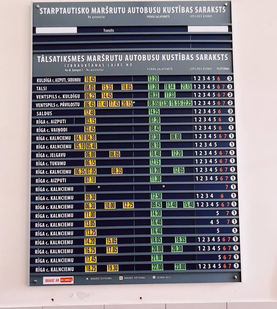 Train timetable, Liepaja Traib Station