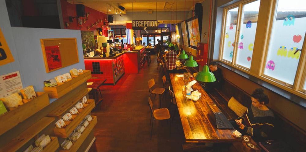Lounge area of Copenhagen Downtown Hostel